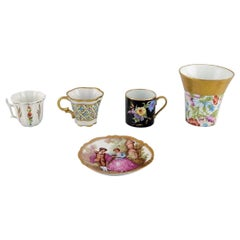 Limoges, France, Three Mocha Cups, Dish/Bowl and Vase in Hand-Painted Porcelain