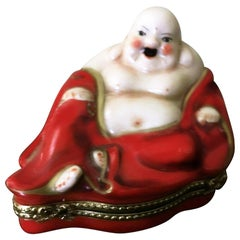 Limoges French Hand Painted Porcelain Budai Hotei Laughing Buddha Trinket Box