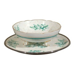 Limoges Green and White Footed Bowl and Underplate