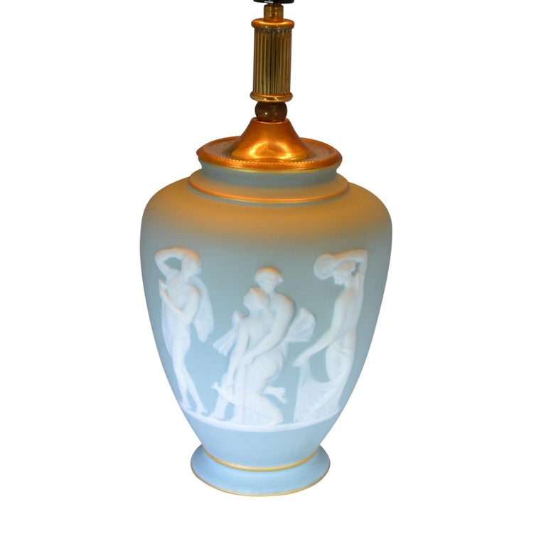 Hand-Carved Limoges Green Lamp Urn Shaped by Tharaud For Sale