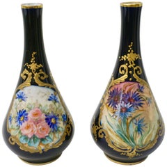 Limoges Porcelain 1930s Vintage French Pair of Cobalt Blue One Flower Vases