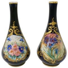 Limoges Porcelain 1930s Vintage French Pair of Cobalt Blue One Flower Vases