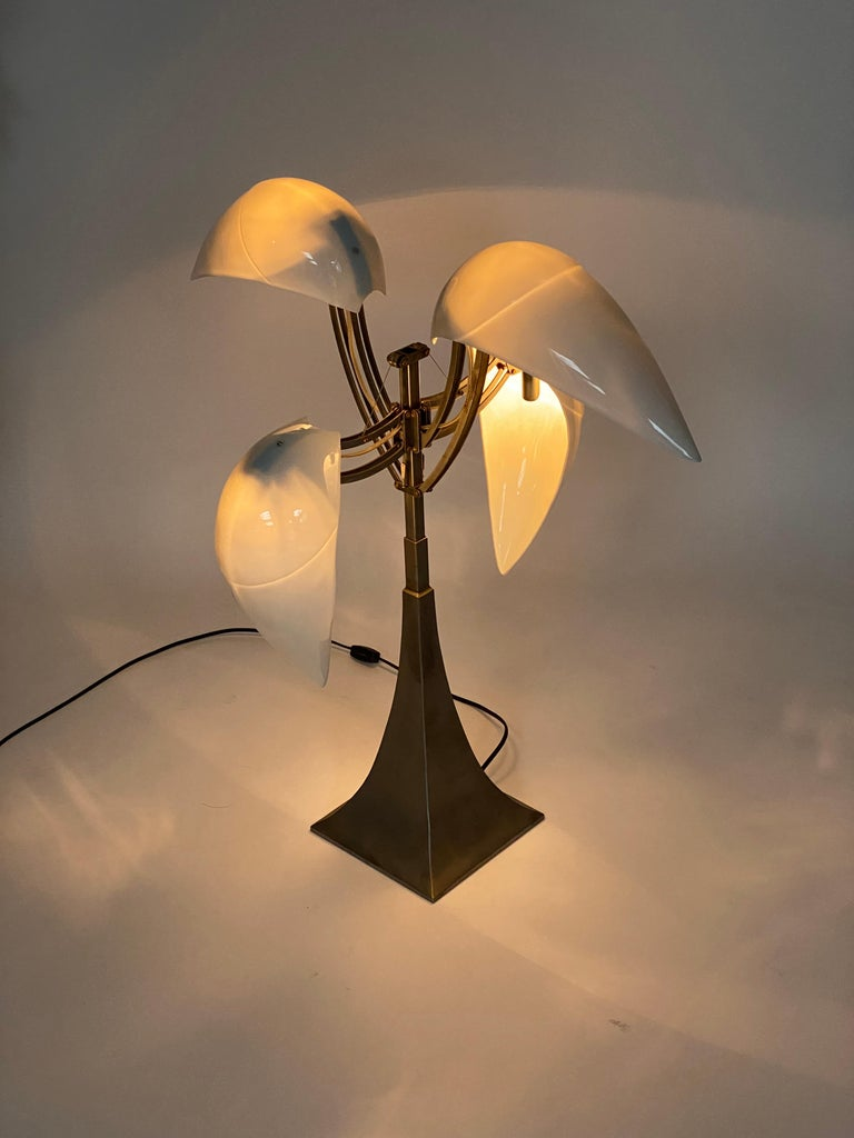 """""""Limoges"""" Porcelain and Brushed Steel Table Lamp For Sale 4"""