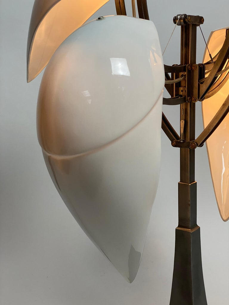 """""""Limoges"""" Porcelain and Brushed Steel Table Lamp For Sale 7"""