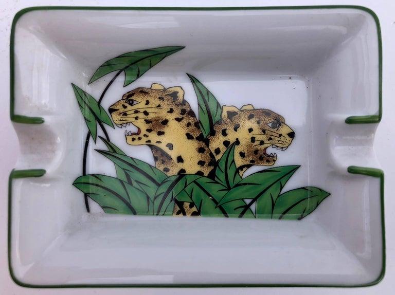 Modern Limoges Porcelain Ashtrays of Panthers, Set of Five For Sale