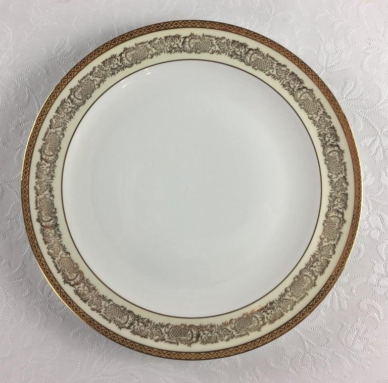 Limoges Porcelain Gold Rimmed Dinner Service 73 pieces, Signed