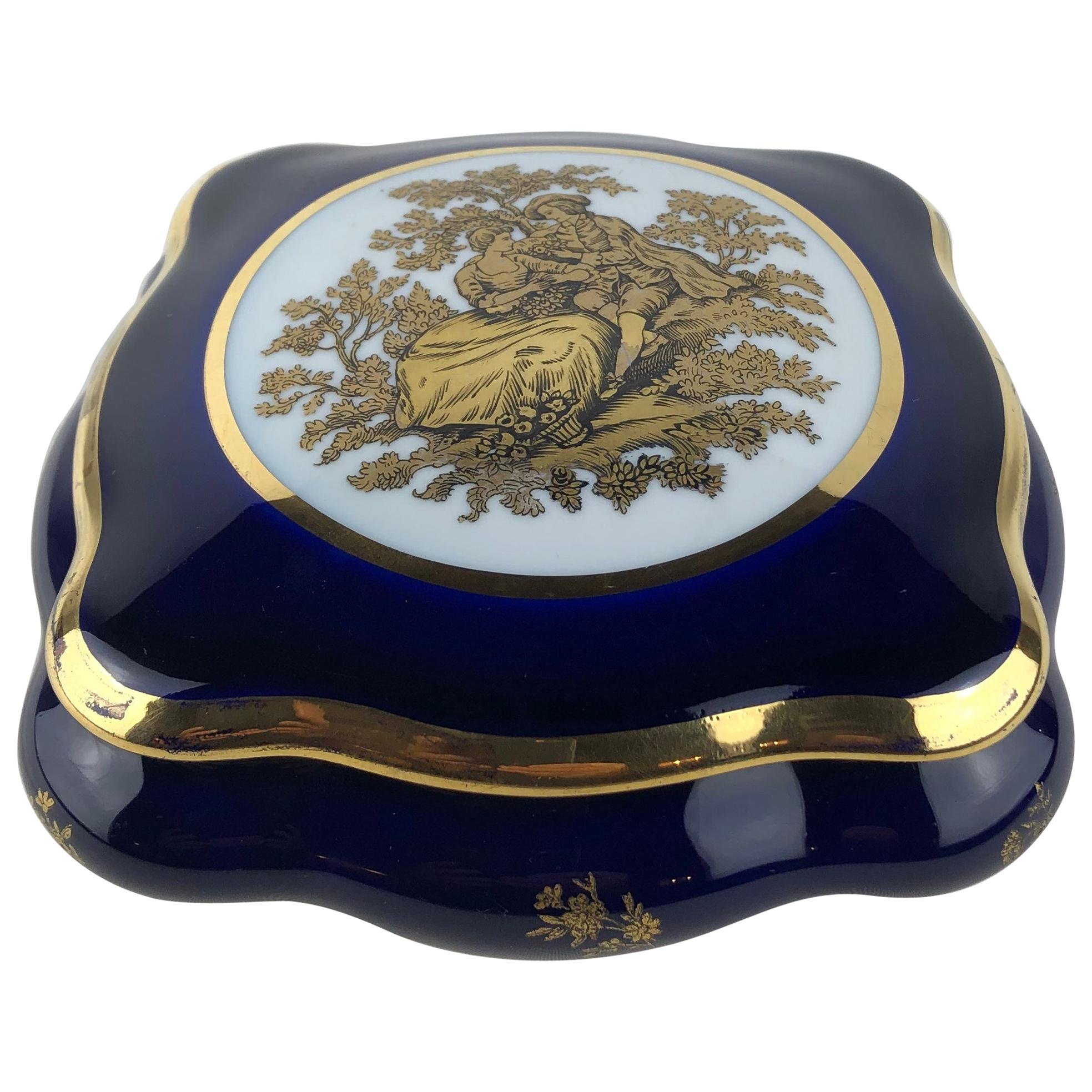 Limoges Porcelain Lidded Candy Dish, Trinket or Jewelry Box