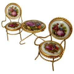 Miniature 3 Piece Furniture Suite with Limoges Porcelain Plaques & Gilt Wire