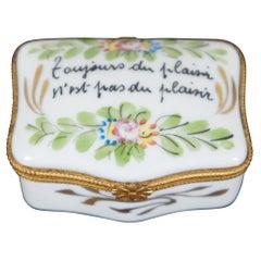 Limoges Porcelain Trinket Box Toujour du Plaisir Pleasure Always Floral