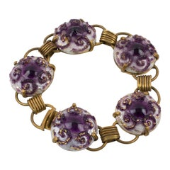 Limoges Purple Enamel and Pate de Verre Link Bracelet