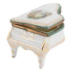 Limoges Singer Porcelain Piano Pill Box