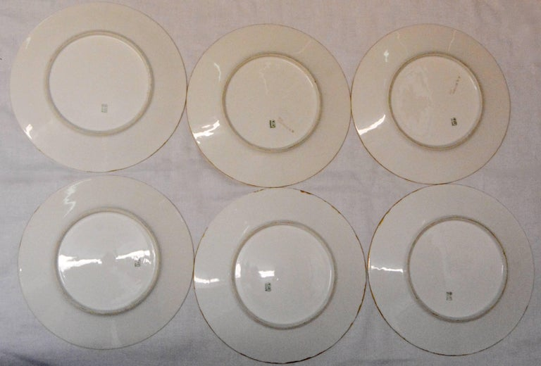 Limoges T & V French Plates with Seashell Paintings by M.H. Dismukes in 1898 In Fair Condition For Sale In Cookeville, TN