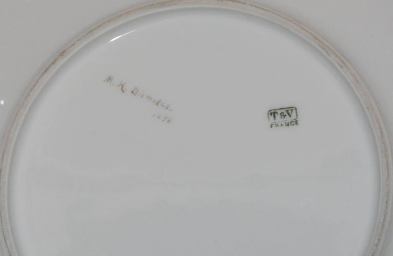 Late 19th Century Limoges T & V French Plates with Seashell Paintings by M.H. Dismukes in 1898 For Sale