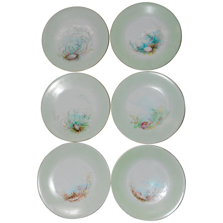 Limoges T & V French Plates with Seashell Paintings by M.H. Dismukes in 1898 For Sale