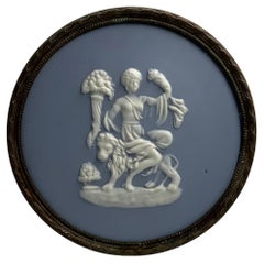 """Limoges Tharaud """"Cameo"""" Blue Plaque Stand"""