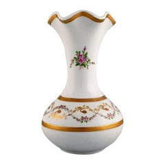 Limoges Vase in Hand Painted Porcelain with Floral and Gold Decoration, 1920s