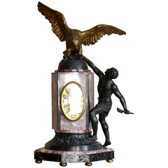 Limousin French Art Deco Eagle Mantle Clock, 1925