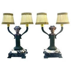 Limousin French Art Deco Pair of Table Lamps, 1920