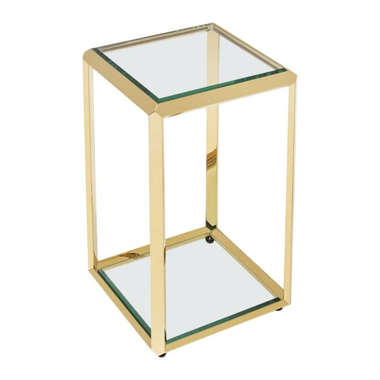 Limpia Side Table in Gold Finish or Smoked Chrome Finish
