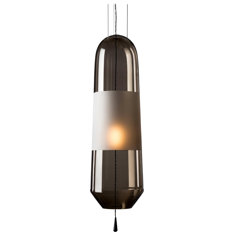 Limpid Light L Smoke Full-Swing, Pendant Light,Hand Blown Glass, Europe