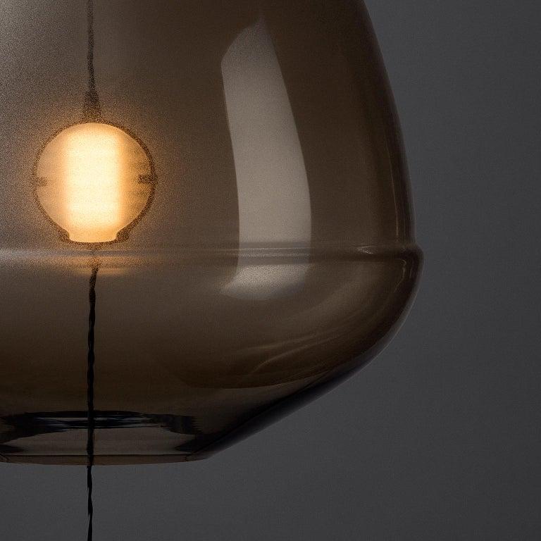 Art Deco Limpid Light M-Smoke Full-Swing, Pendant Light, Hand Blown Glass, Europe For Sale