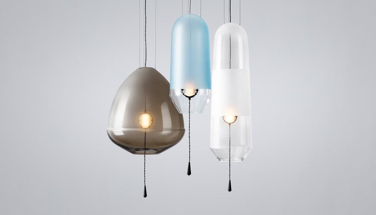Contemporary Limpid Light M-Smoke, Pendant Light, Decorative Light, Hand Blown Glass, Europe For Sale