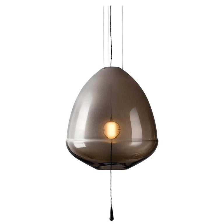 Limpid Light M-Smoke, Pendant Light, Decorative Light, Hand Blown Glass, Europe For Sale