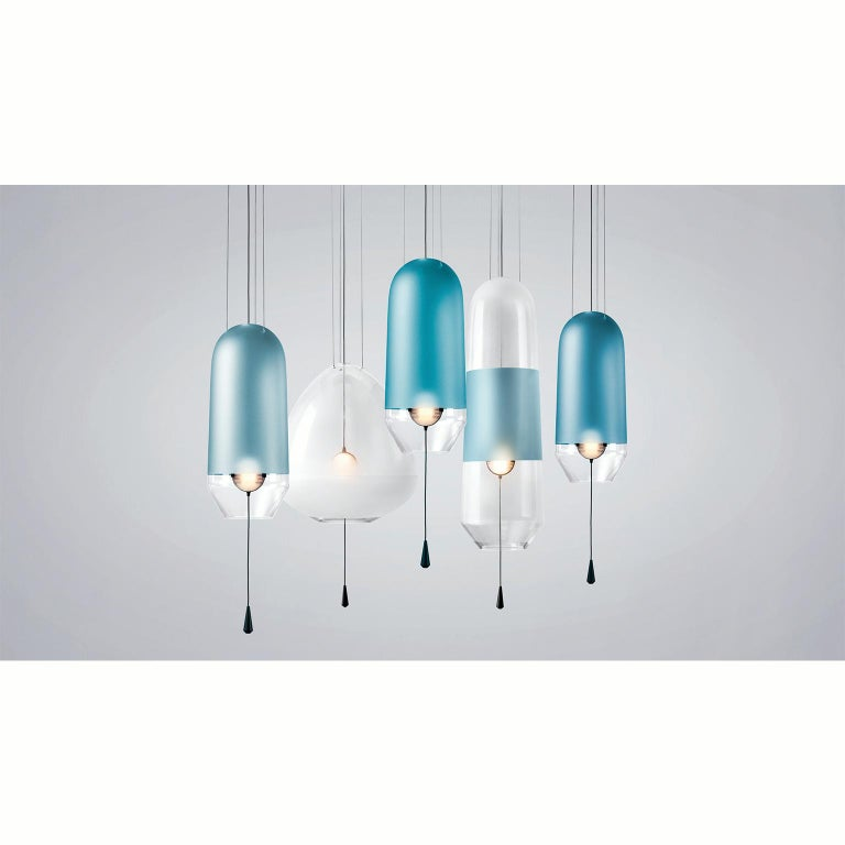 Limpid Light S Aquamarine Standard, Blue Decorative Light, Hand Blown Glass In New Condition For Sale In Eindhoven, NL