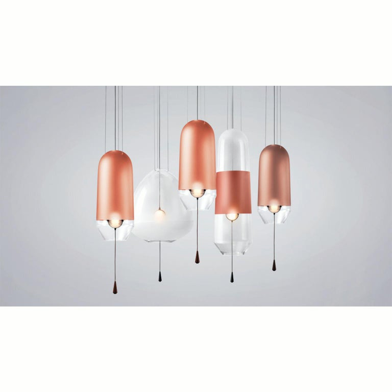 Contemporary Limpid Light S, Special Lepidolite, Pink Decorative Light, Hand Blown Glass For Sale