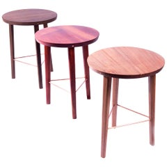 Lin Contemporary Stool/Side Table in Brazilian Hardwood by Knót Artesanal