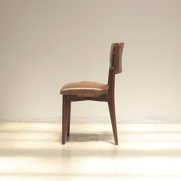 "Upholstery Lina Bo Bardi ""C12"" Dining Chair for Studio d´Arte Palma, circa 1950 For Sale"
