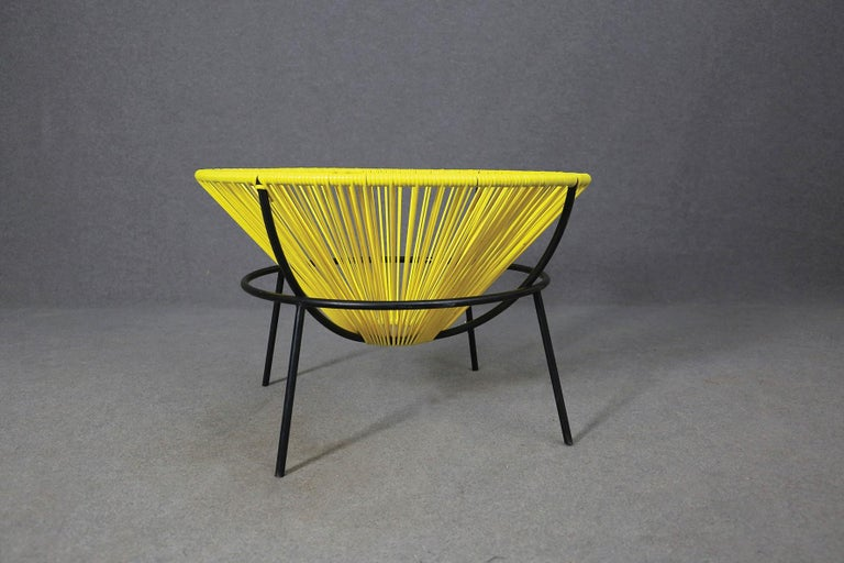 Brazilian Lina Bo Bardi Midcentury Bowl Chair in Iron and Plastic, 1950s For Sale