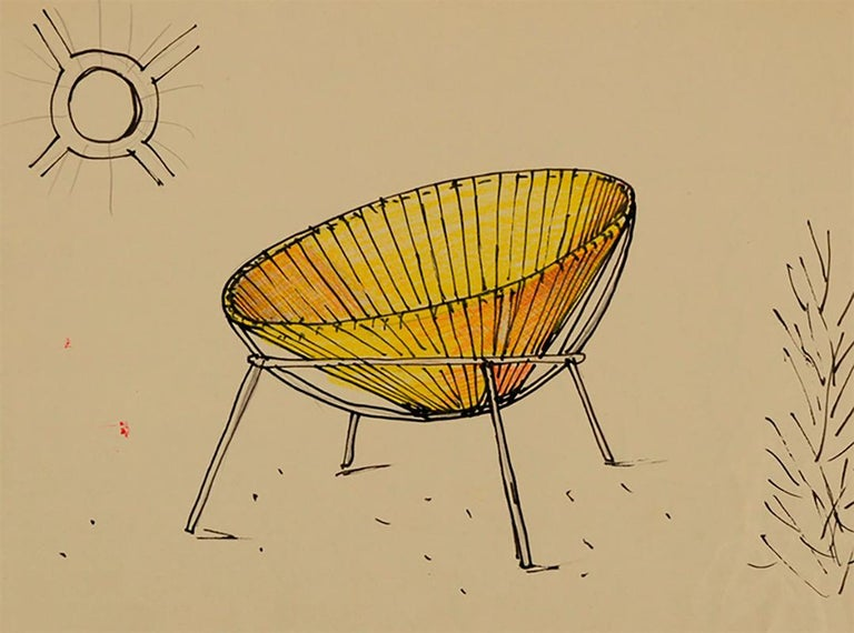 Lina Bo Bardi Midcentury Bowl Chair in Iron and Plastic, 1950s For Sale 2