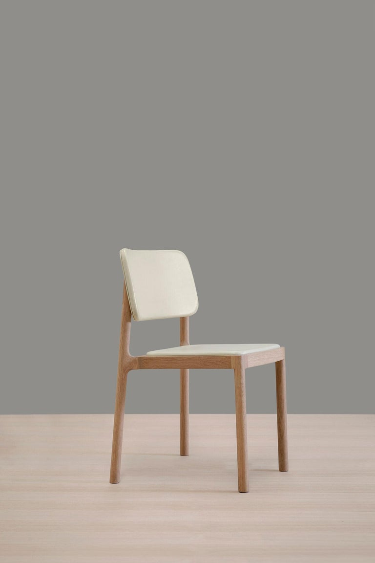 Mexican Linard, Oak and White Leather Chair For Sale