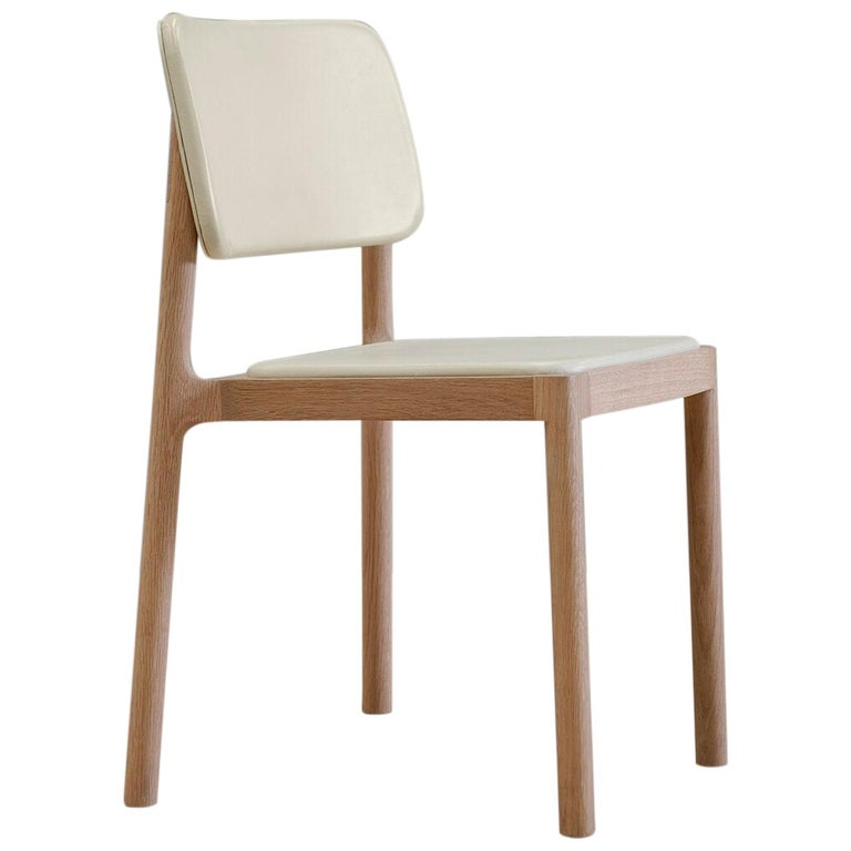 Linard, Oak and White Leather Chair For Sale
