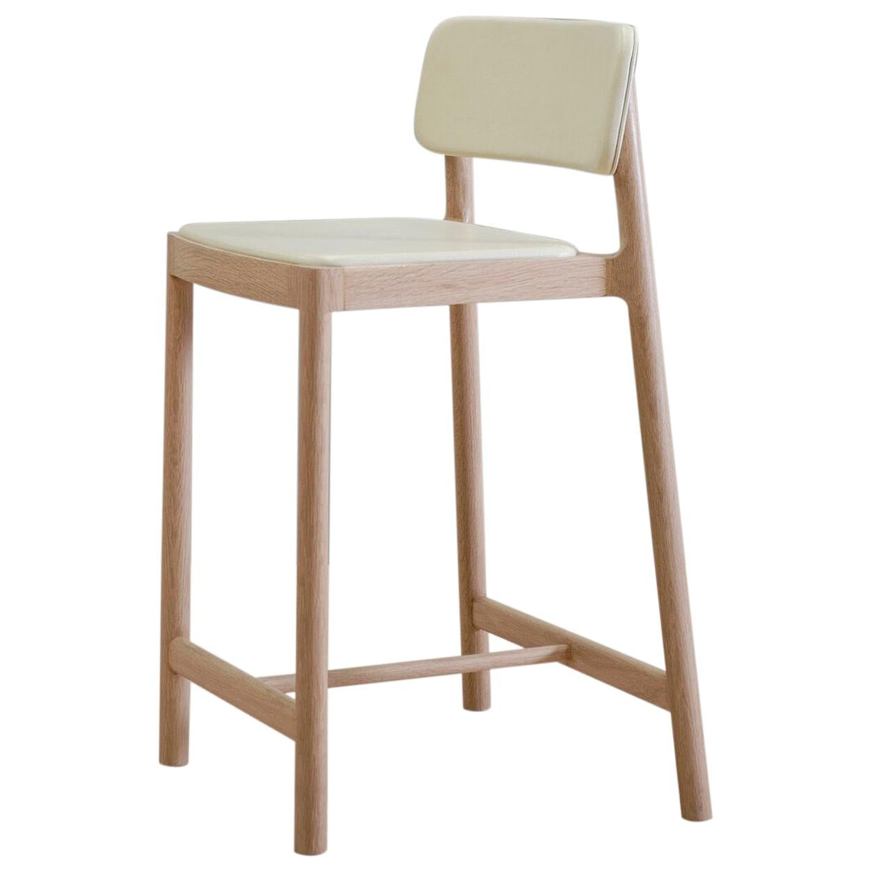 Linard, Oak and White Leather Stool