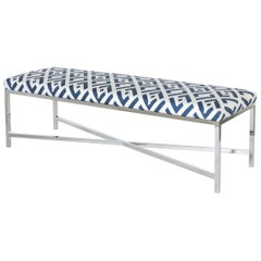 Lincoln Chrome Bench in Blue and White Metal by CuratedKravet