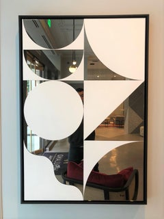 Mid Century Geometric reflections - white lacquer on bronze mirror