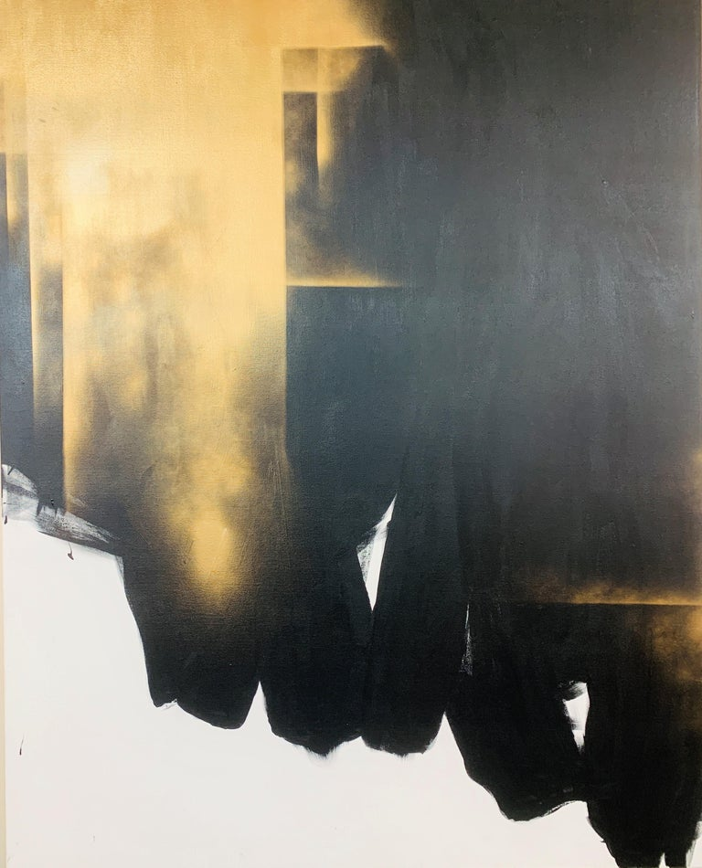 Lincoln Grey Abstract Painting - Study of light and darkness painting - Large contemporary abstract painting