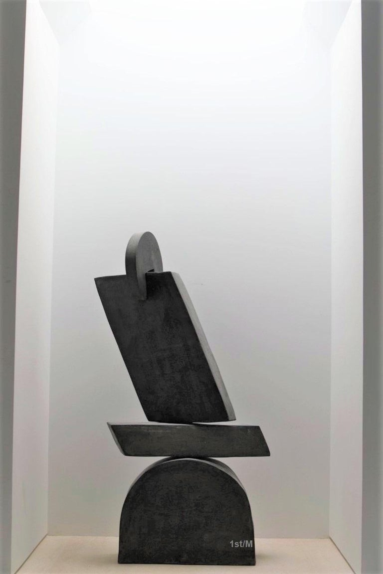 Lincoln Grey Abstract Sculpture - Large Statement Abstract Contemporary Sculpture - Dark Gray