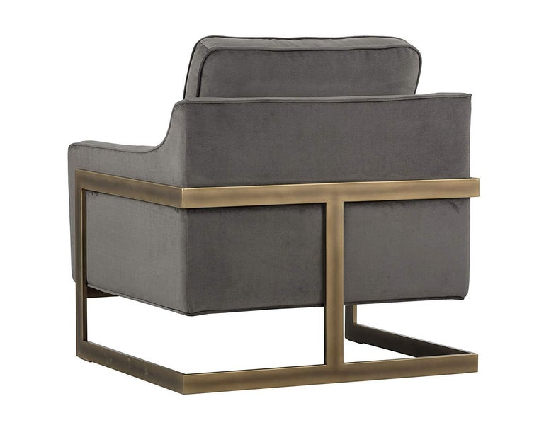 Designed with deep seating, a cushioned back and piping detail for a comfortable addition to any contemporary residential or commercial space. Featuring stone grey with an exposed rustic bronze steel frame. Fire rated foam and fabric.
