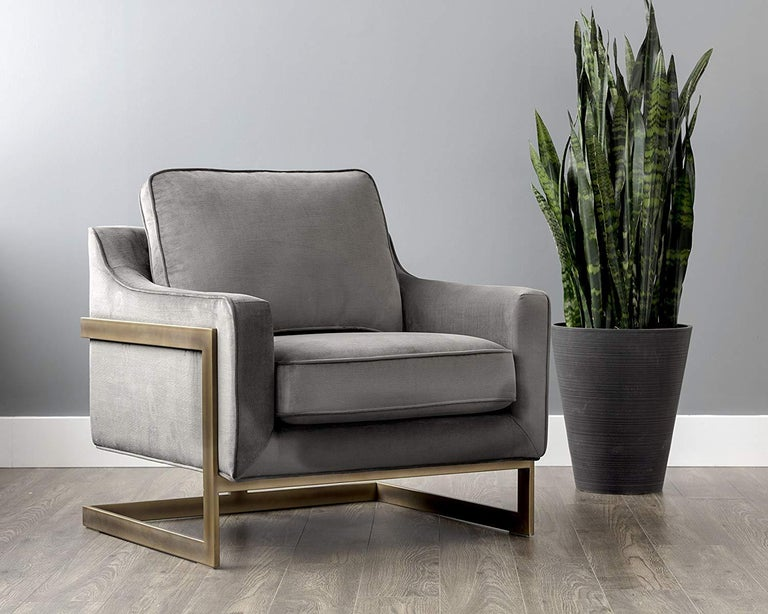 Modern Lincoln Lounge Chair, Stone Grey/ Bronze For Sale