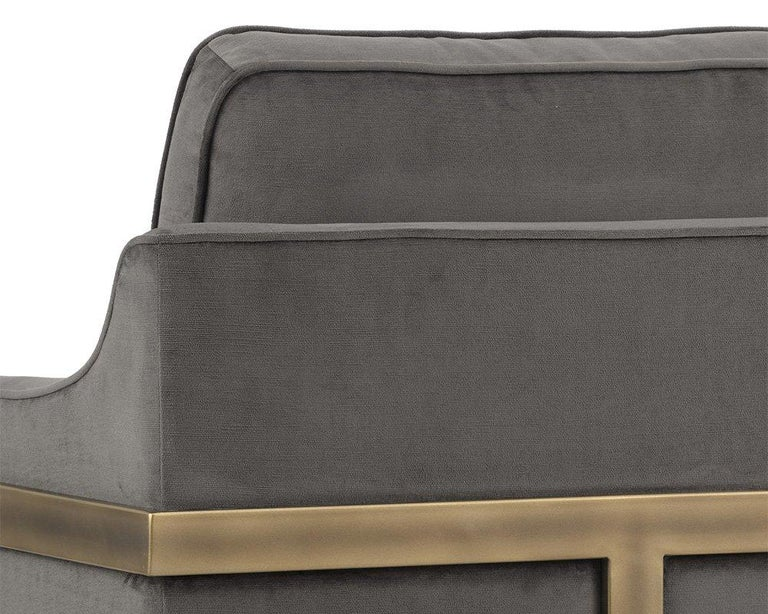 Lincoln Lounge Chair, Stone Grey/ Bronze In New Condition For Sale In New York, NY