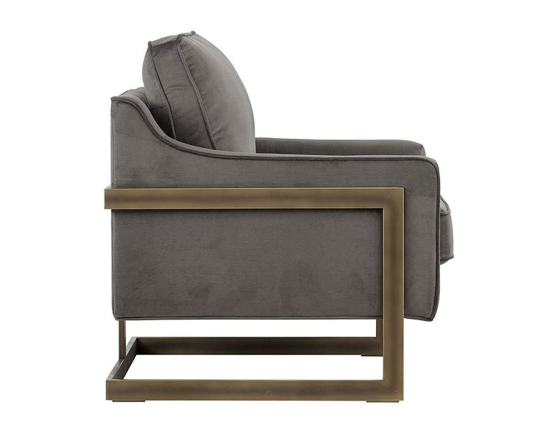 Lincoln Lounge Chair, Stone Grey/ Bronze For Sale 1