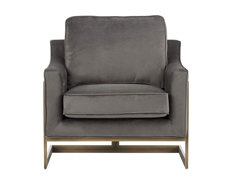 Lincoln Lounge Chair, Stone Grey/ Bronze For Sale 2