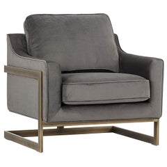 Lincoln Lounge Chair, Stone Grey/ Bronze