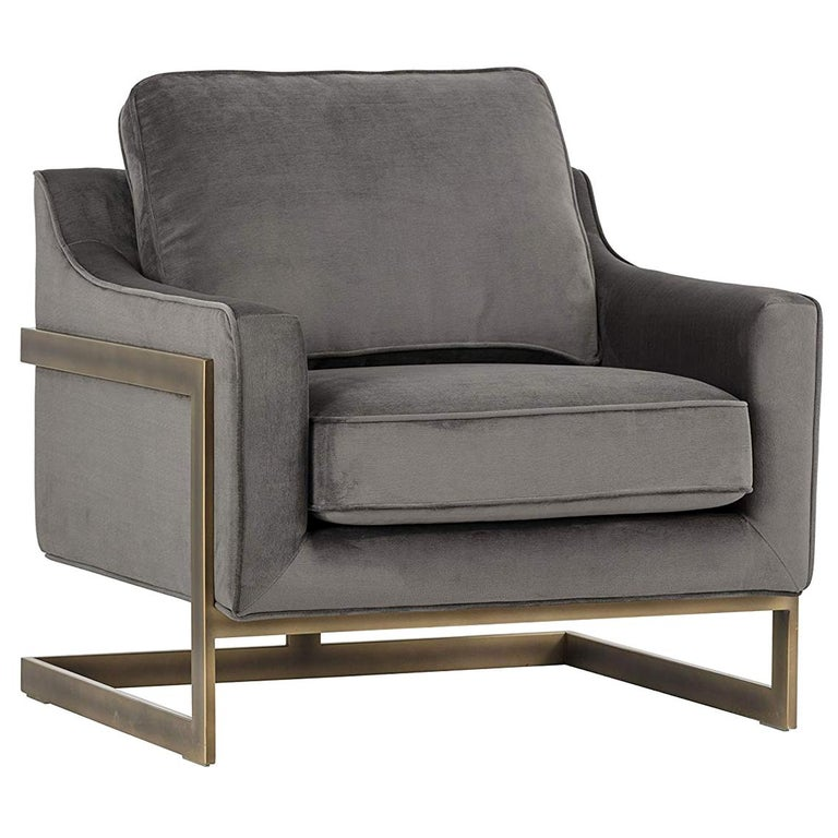Lincoln Lounge Chair, Stone Grey/ Bronze For Sale