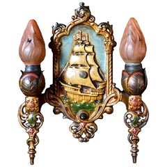 Lincoln Polychrome Two-Light Sconce with Ship