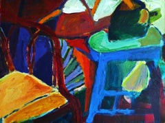 Bamboo chair with Tea Pots, Acrylic Painting on Canvas