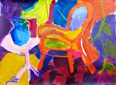 Interior with Orange Chair, Painting, Acrylic on Paper